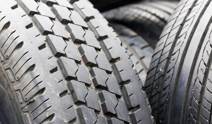 Closeup view of old truck tyres